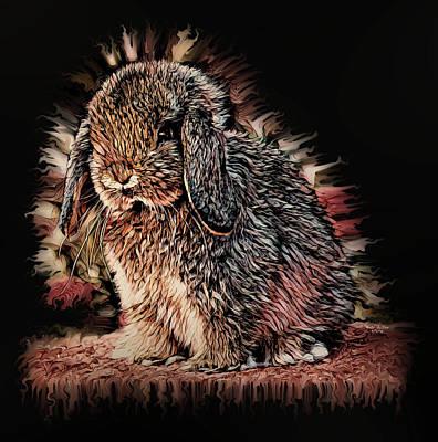 Digital Art - Lop Eared Bunny Rabbit by Artful Oasis