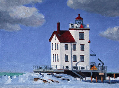 Painting - Lorain Harbor Light by Charles Pompilius