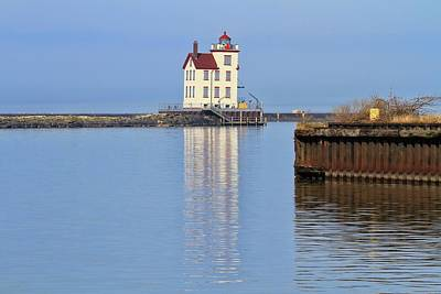 Photograph - Lorain Harbor Light Reflection by Dan Sproul