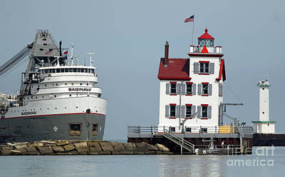 Photograph - Lorain Lighthouse And Ship by Debbie Parker