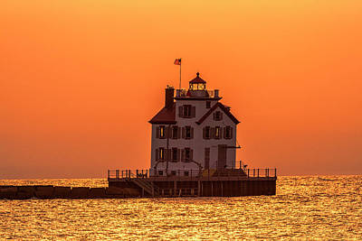 Lorain Lighthouse At Sunset Art Print
