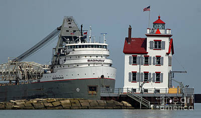 Photograph - Lorain Lighthouse/ship by Debbie Parker