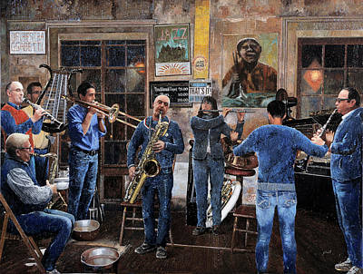 Jazz Painting Royalty Free Images - Lorchestra Royalty-Free Image by Guido Borelli