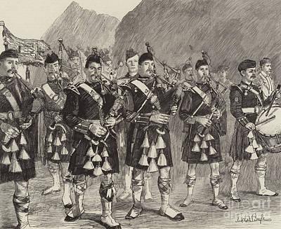 Playing Drawing - Lord Archibald Campbell And His Pipers Marching Through The Pass Of Glencoe by William Lockhart Bogle