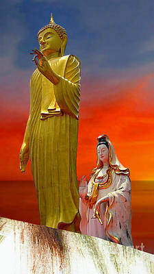 Digital Art - Lord Buddha And Quan Yin by Ian Gledhill