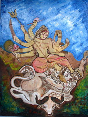 Painting - Lord Durga by Anand Swaroop Manchiraju