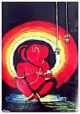 Ganapathi Painting - Lord Ganesha by Anu Sivarao