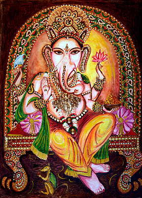 Print featuring the painting Lord Ganesha by Harsh Malik