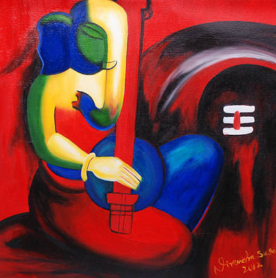 Ganesh Painting - Lord Ganesha Making Music by Nirendra Sawan