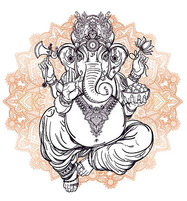 Painting - Lord Ganesha On Mandala by Aloke Creative Store