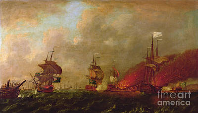 Explosions Painting - Lord Howe And The Comte Destaing Off Rhode Island by Robert Wilkins