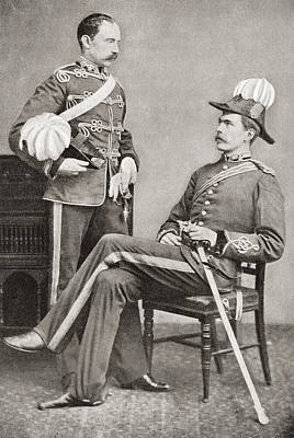 Lord Drawing - Lord Kitchener, Seated, And His Eldest by Vintage Design Pics