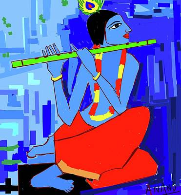 Digital Art - Lord Krishna-4 by Anand Swaroop Manchiraju