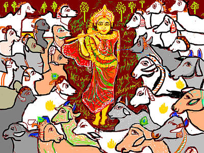 Digital Art - Lord Krishna And Cows by Anand Swaroop Manchiraju