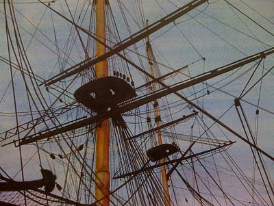 Lord Nelson Painting - Lord Nelson's Ship Rigging by Joan Ryan