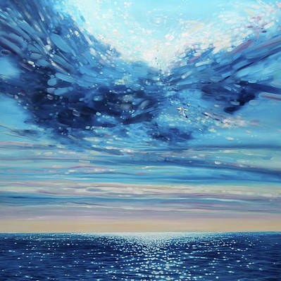 Seaford Painting - Lord Of Sea And Sky - A Large Original Seascape Painting by Gill Bustamante