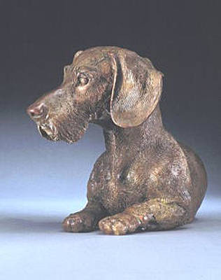 Bronze Dachshund Sculpture - Lord Of The Couch by Joy Beckner