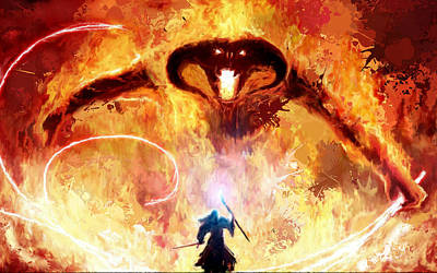 Moria Painting - Lord Of The Rings Balrog by Frank Paul