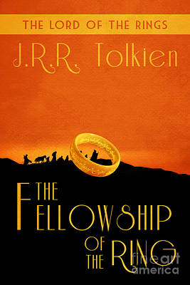 Book Covers Drawing - Lord Of The Rings Fellowship Of The Ring Book Cover Movie Poster by Nishanth Gopinathan