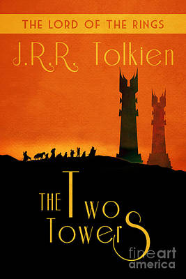 Book Covers Drawing - Lord Of The Rings The Two Towers Book Cover Movie Poster Art 1 by Nishanth Gopinathan