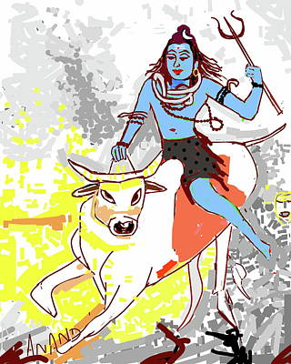 Digital Art - Lord Shiva And The Bull by Anand Swaroop Manchiraju