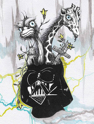 Ostrich Mixed Media - Lord Vader's Happy Place by Tai Taeoalii