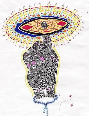 Tantra Drawing - Lord Vishnu's Wheel by Aaron Cramton