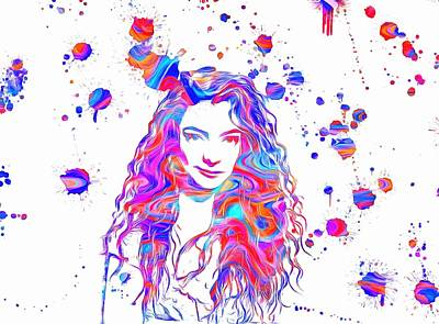 Lorde Colorful Paint Splatter Art Print by Dan Sproul