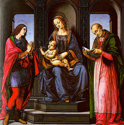 St Nicholas Of Myra Digital Art - Lorenzo Di Credi The Virgin And Child With St Julian And St Nicholas Of Myra by Lorenzo di Credi
