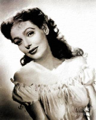 Food And Flowers Still Life Rights Managed Images - Loretta Young, Vintage Actress Royalty-Free Image by Esoterica Art Agency