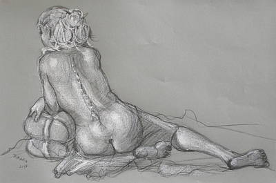 Drawing - Lori Reclining With Hair Up by Donelli  DiMaria
