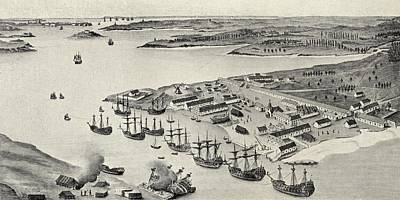 Enclosure Drawing - Lorient Port, Brittany, France by Vintage Design Pics