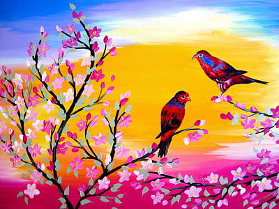 Cherry Blossoms Painting - Lorikeets by Cathy Jacobs
