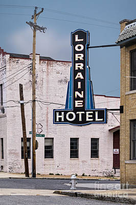 Assassination Digital Art - Lorraine Hotel Sign by Jerry Fornarotto