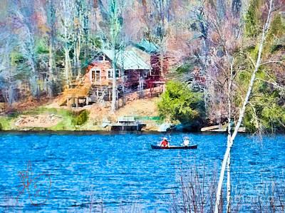 Canoe Digital Art - Lorton Lake Canoe by David Francey