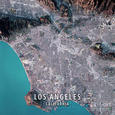 Los Angeles 3d Render Satellite View Topographic Map Art Print by Frank Ramspott