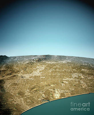 Santa Digital Art - Los Angeles 3d View West-east Natural Color by Frank Ramspott