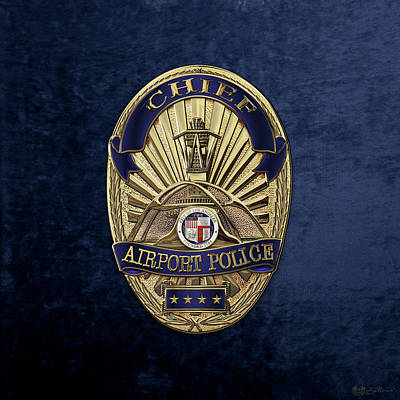 Los Angeles Airport Police Division - L A X P D  Chief Badge Over Blue Velvet Original by Serge Averbukh