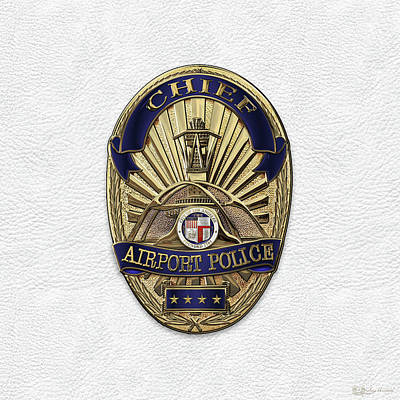 Los Angeles Airport Police Division - L A X P D  Chief Badge Over White Leather Original by Serge Averbukh