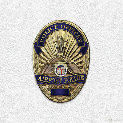 Police Officer Digital Art - Los Angeles Airport Police Division - L A X P D  Police Officer Badge Over White Leather by Serge Averbukh