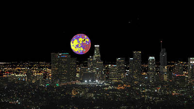 Photograph - Los Angeles And The Super Alien Moon by Kenneth James