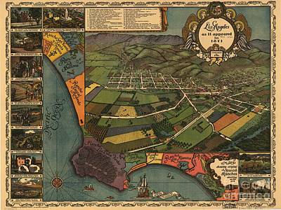 Los Angeles Drawing - Los Angeles As It Appeared In 1871 by Baltzgar