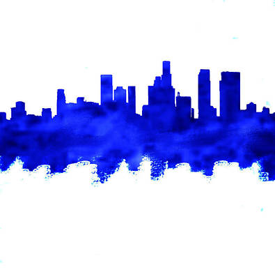 Cityscape Painting - Los Angeles Blue Skyline  by Enki Art