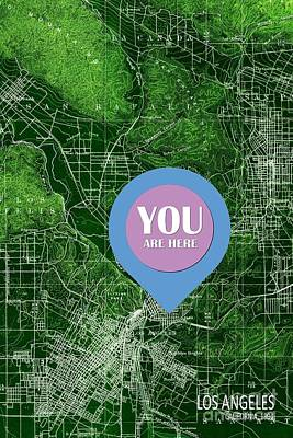 Old Map Digital Art - Los Angeles California 1894 Green Old Map You Are Here by Pablo Franchi