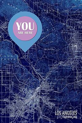 Old Map Digital Art - Los Angeles California 1894 You Are Here by Pablo Franchi