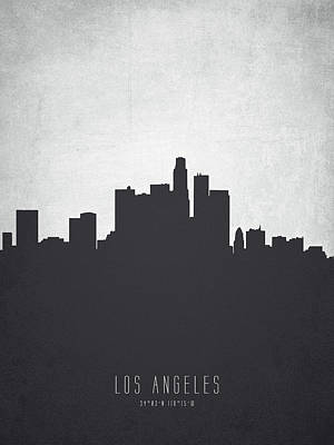 Skylines Paintings - Los Angeles California Cityscape 19 by Aged Pixel