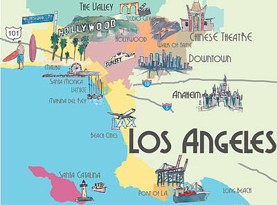 Los Angeles Skyline Mixed Media - Los Angeles California - Map Of Greater L.a. With Highlights by M Bleichner