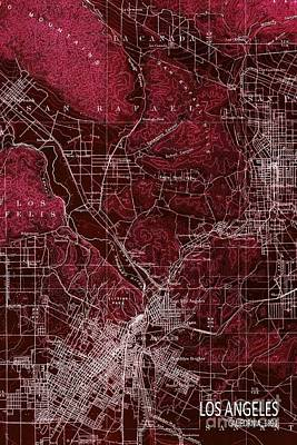 Old Map Digital Art - Los Angeles California Mid Century Map Red by Pablo Franchi