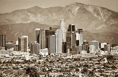 Photograph - Los Angeles California Mountain City Skyline by Gregory Ballos