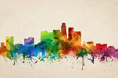 Skylines Paintings - Los Angeles California Skyline 05 by Aged Pixel